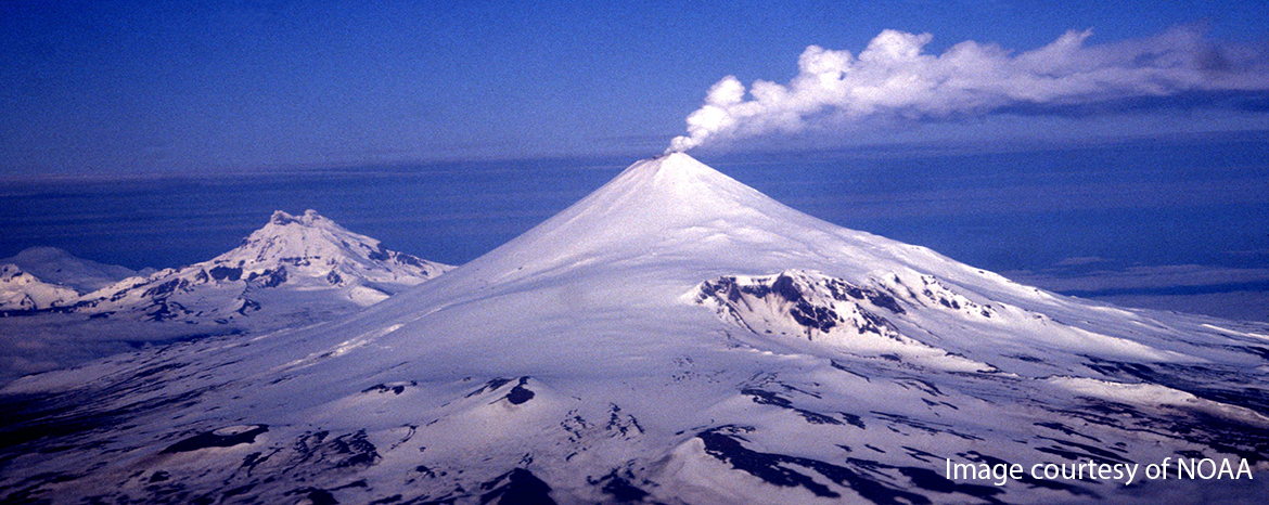 Alaska volcanoes, courtesy of NOAA