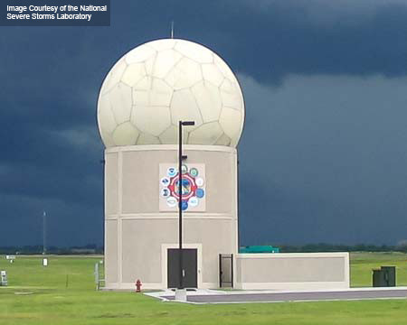 Image of a multifunction phased array radar from the National Severe Storms Laboratory.