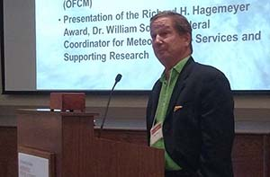 "Dr. Lynn ""Nick"" Shay accepting the Richard Hagemeyer Award"
