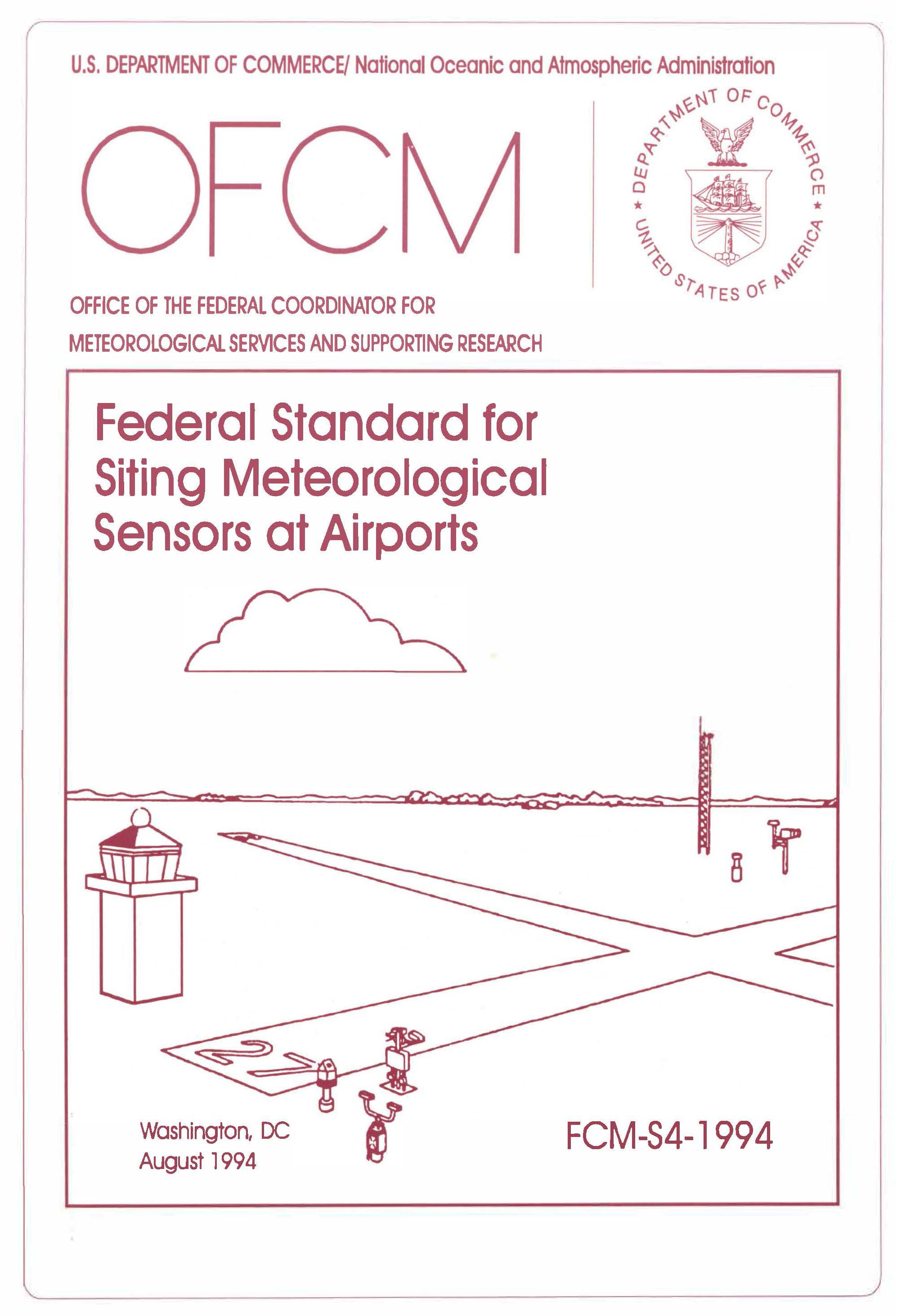 Image of the front cover of the Federal Standard for Siting Meteorological Sensors at Airports