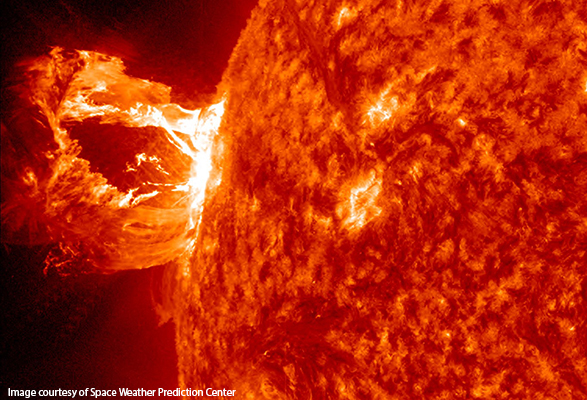 Solar flare, courtesy of the Space Weather Prediction Center.