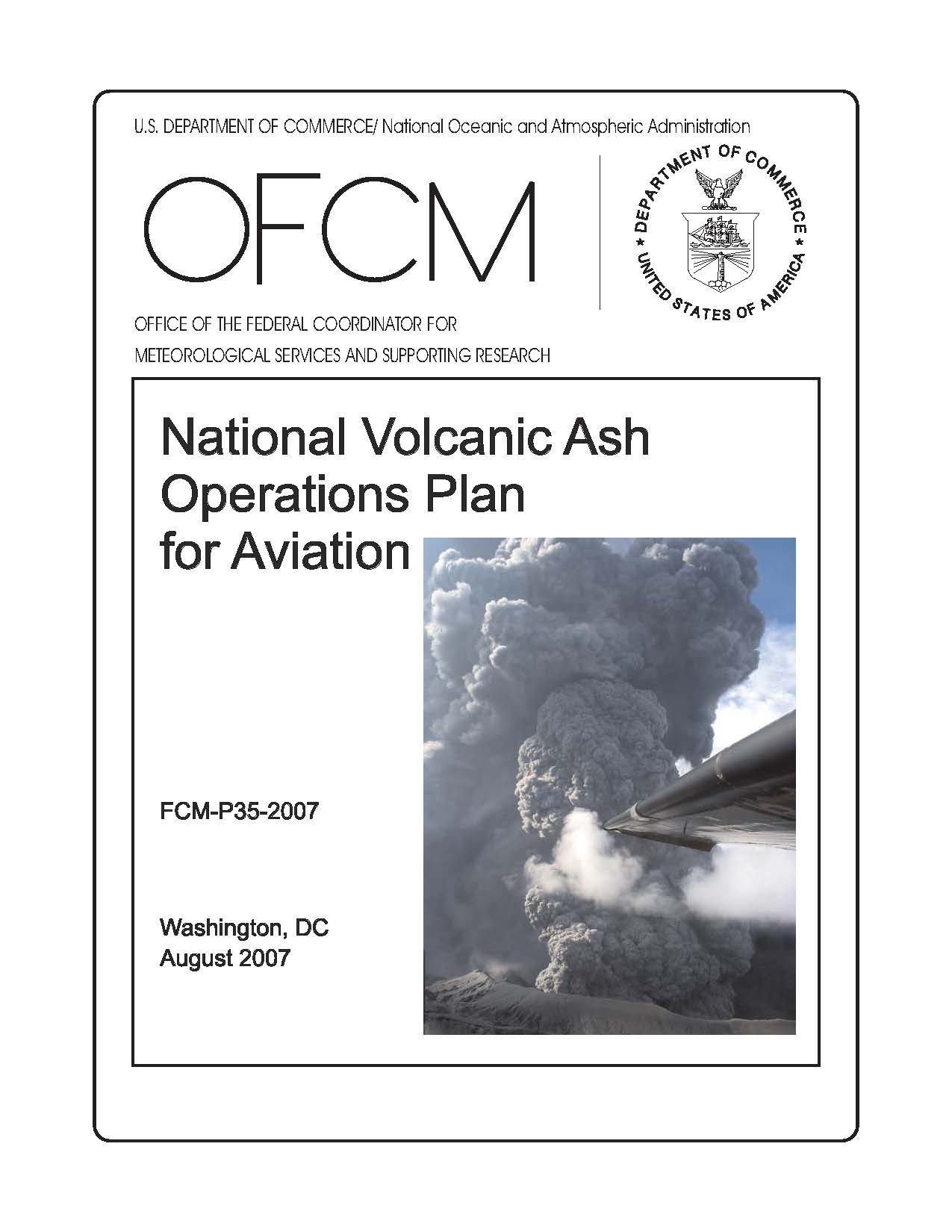 Image of the front cover of the National Volcanic Ash Operations Plan for Aviation